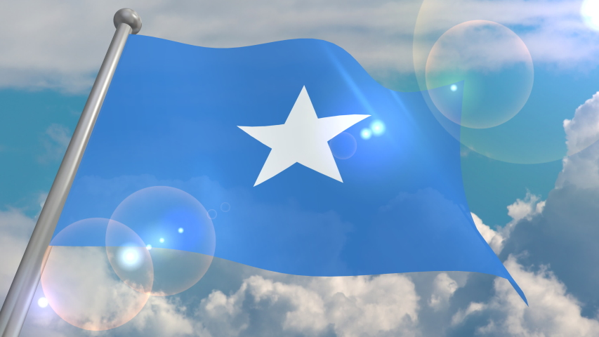 The flag of the state of Somalia develops in the wind against a blue sky with cumulus clouds and a flash on the lens from the sun. 4K video is looped and decoded from a 3D program. | Shutterstock HD Video #1055555045