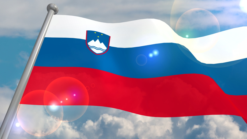 The flag of the state of Slovenia is developing in the wind against a blue sky with cumulus clouds and a flash on the lens from the sun. 4K video is looped and decoded from a 3D program. | Shutterstock HD Video #1055555048