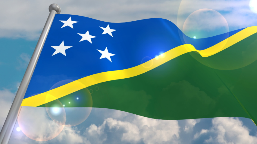 The flag of the state of Solomon Islands develops in the wind against a blue sky with cumulus clouds and a flash on a lens from the sun. 4K video is looped and decoded from a 3D program. | Shutterstock HD Video #1055555057