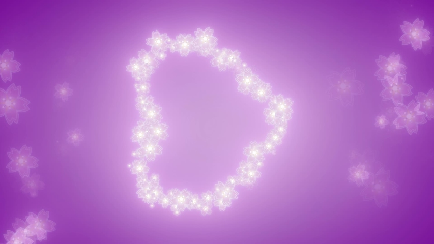 Purple flowers in a big heart shape formation for mothers day, wedding, and valentine purpose, rotate to vertical for social media story or status | Shutterstock HD Video #1055555288