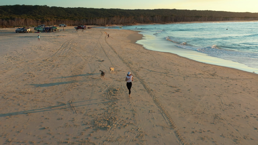 Aerial Drone Shot North Stradbroke Island at Flinders Beach Woman Chased by Dogs Beach Sunset with Camping and Cars | Shutterstock HD Video #1055555375