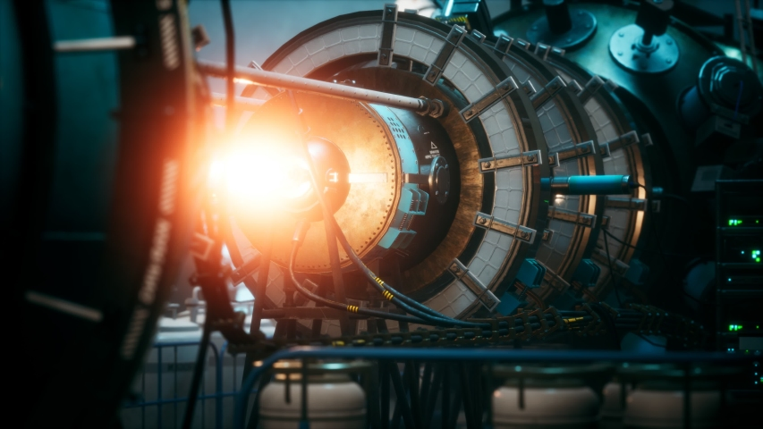 Futuristic cyberpunk power plant thermonuclear or nuclear reactor | Shutterstock HD Video #1055555744