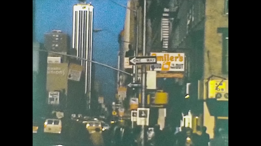 NEW YORK 1975: New York streets view in the mid 70's, vintage footage digitalized in 4k
