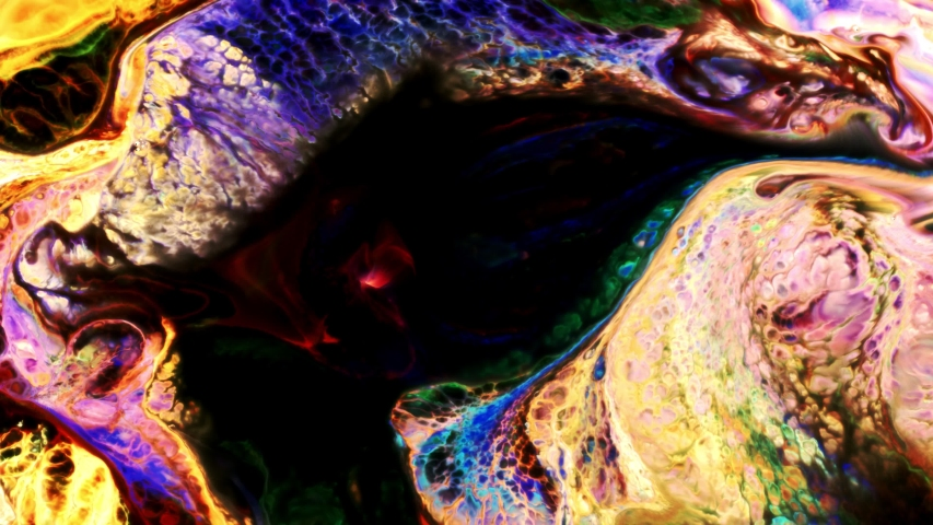 Colorful Food Paint Spread on Liquid | Shutterstock HD Video #1055564999