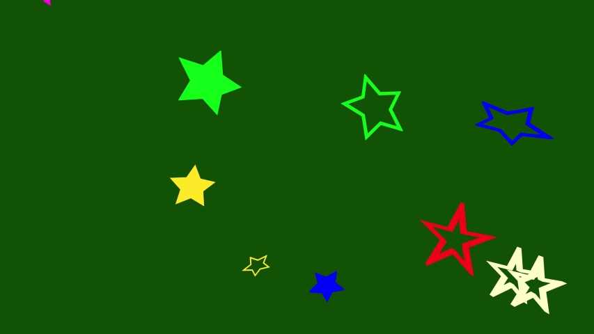 Animation of five-pointed stars of different colors on a green background for concerts. 3D rendering. | Shutterstock HD Video #1055565182