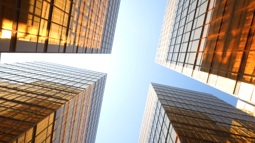 Downtown Looking up at Office Building Architecture in the Financial District of Hong Kong, China | Shutterstock HD Video #1055567960