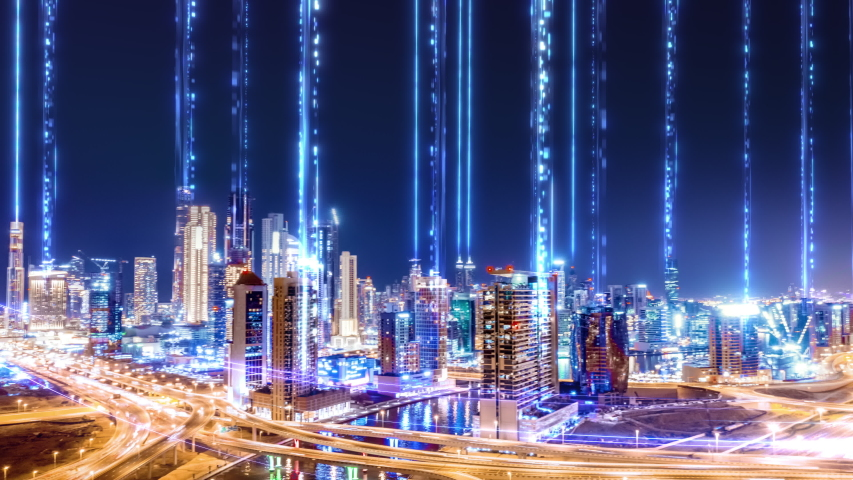 Aerial Drone Footage At Dusk Panoramic Skyline Of Metropolitan City Futuristic Network and Technology 5G Drone Low Light 4k | Shutterstock HD Video #1055569133