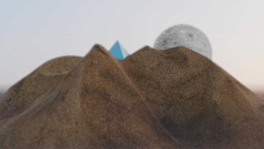 Scifi pyramid rising from sand on strange planet, surreal unknown craft emerges from hiding in desert like landscape. Extraterrestrial pyramid powered craft on an alien world realistic 3d animation. | Shutterstock HD Video #1055569937