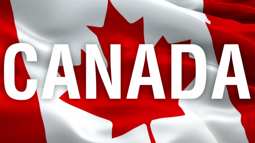 Canada waving flag. National 3d Canadian flag with leaf emblem waving. Sign of Canada Toronto seamless loop animation. Canadian flag HD resolution Background. Canadians flag Closeup 1080p Full HD vide | Shutterstock HD Video #1055570198