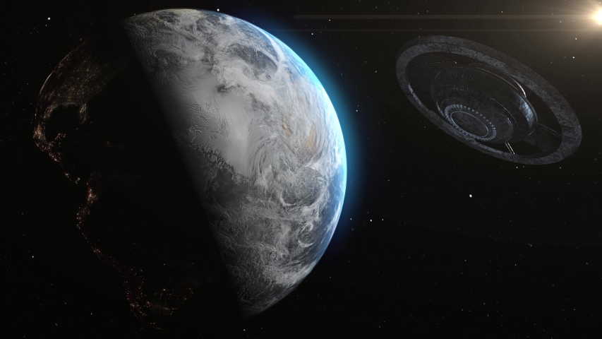 UFO Alien Metalic Saucer Cinematic invasion over earth,  Metallic Rotating flying saucer space ship Heading toward Planet earth, Invasion Concept- 3D rendering  | Shutterstock HD Video #1055570858