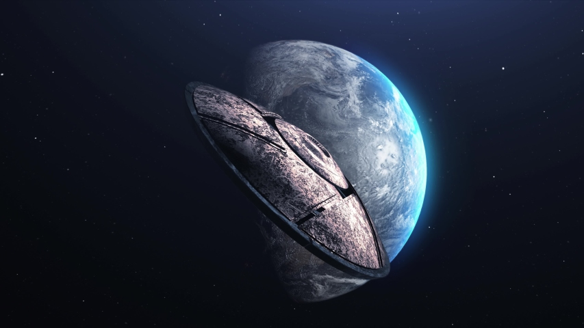 UFO Alien Saucer Cinematic invasion over earth,  metallic flying saucer space ship Revealing Planet earth, Invasion Concept- 3D rendering  | Shutterstock HD Video #1055570861
