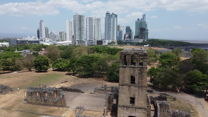 Drone Flight above Panama, Panama City: Ruins and high rises   Shutterstock HD Video #1055576906