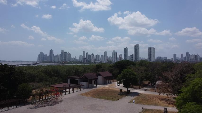 Drone Flight above Panama, Panama City: Ruins and high rises   Shutterstock HD Video #1055576924