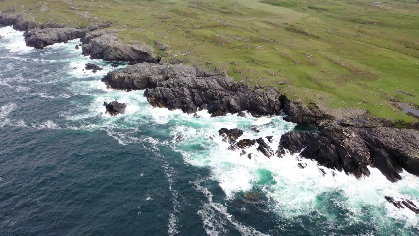 Aerial view of the coastline at Daros in County Donegal - Ireland   Shutterstock HD Video #1055577647
