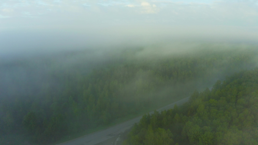 The road between the forest in the fog. 4K drone video.   Shutterstock HD Video #1055579138