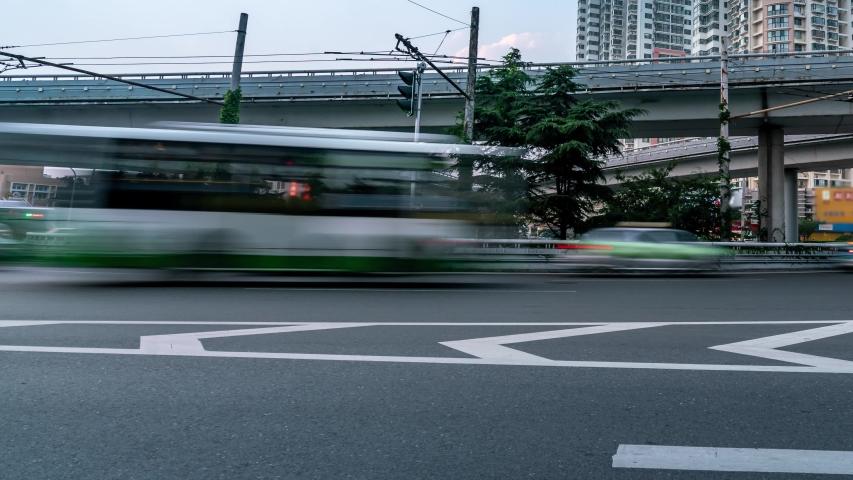 Qingdao, Shandong, CBD, traffic night scene of Hong Kong Road.   | Shutterstock HD Video #1055606048