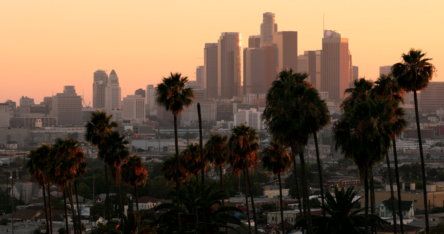 The sun sets behind the downtown Los Angeles skyline, framed by iconic palm trees in silhouette. | Shutterstock HD Video #1055607203