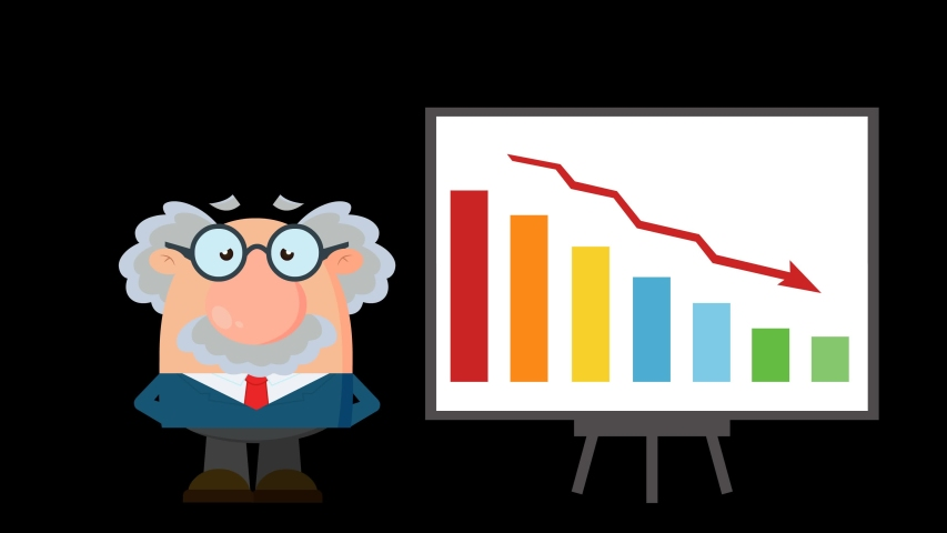 Professor Or Scientist Cartoon Character With Pointer Presenting A Falling Chart. 4K Animation Video Motion Graphics Without Background. | Shutterstock HD Video #1055614403