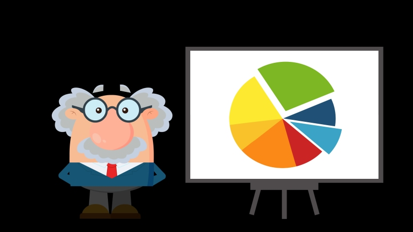 Professor Or Scientist Cartoon Character Pointing Progressive Pie Chart On A Board. 4K Animation Video Motion Graphics Without Background | Shutterstock HD Video #1055616068