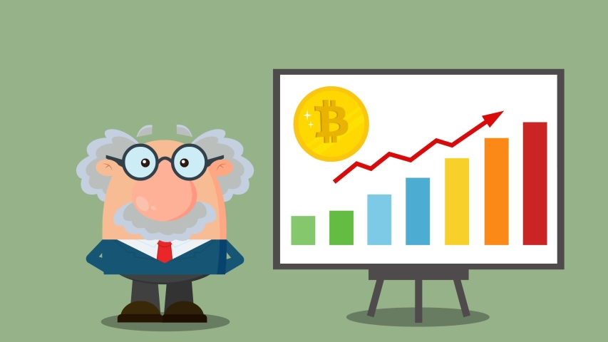Professor Or Scientist Cartoon Character With Pointer Discussing Bitcoin Growth With A Bar Graph. 4K Animation Video Motion Graphics With Background | Shutterstock HD Video #1055616356