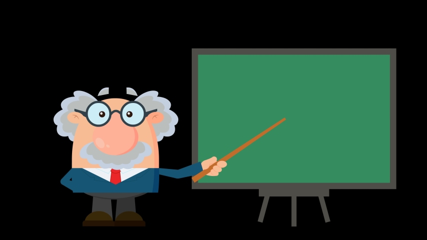Professor Or Scientist Cartoon Character With Pointer Presenting On A Board. 4K Animation Video Motion Graphics Without Background | Shutterstock HD Video #1055616377
