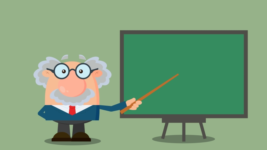 Professor Or Scientist Cartoon Character With Pointer Presenting On A Board. 4K Animation Video Motion Graphics With Background | Shutterstock HD Video #1055616395
