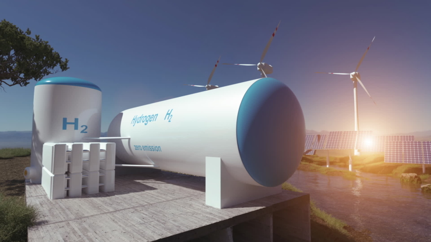 Hydrogen renewable energy production - hydrogen gas for clean electricity solar and windturbine facility. 3d rendering. Royalty-Free Stock Footage #1055623715
