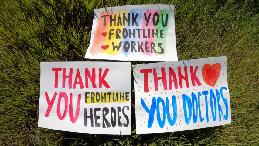 Thank You Frontline Heroes - Thank You Frontline Workers - Thank you doctors! Royalty-Free Stock Footage #1055624834