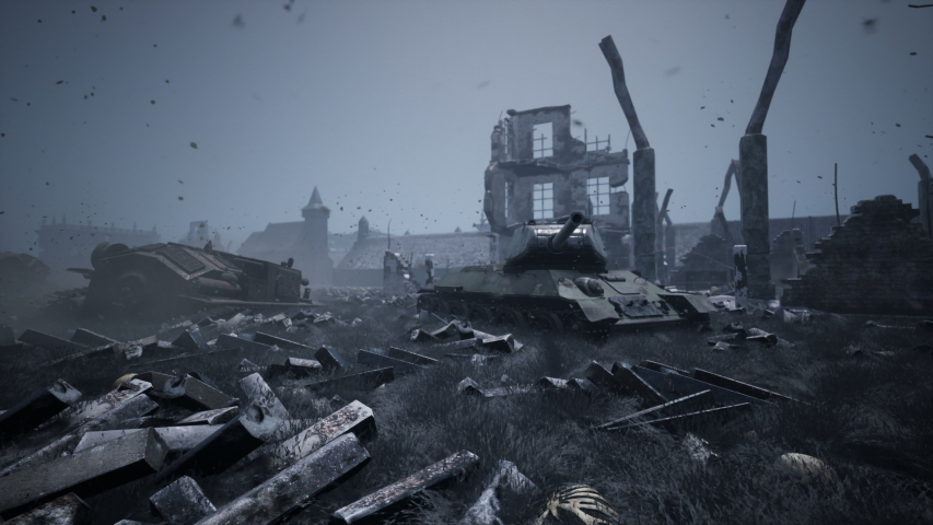 Military tanks from the second world war lie smashed on the battlefield next to human remains and the ruins of houses. The concept of war and the Apocalypse.