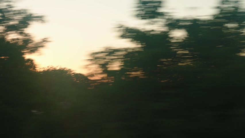 Transport, travel, road, railway, landscape, comnication concept - view from window of speed train with glare on glass to landscape of beautiful nature of meadows and forest before sunset in summer | Shutterstock HD Video #1055650037
