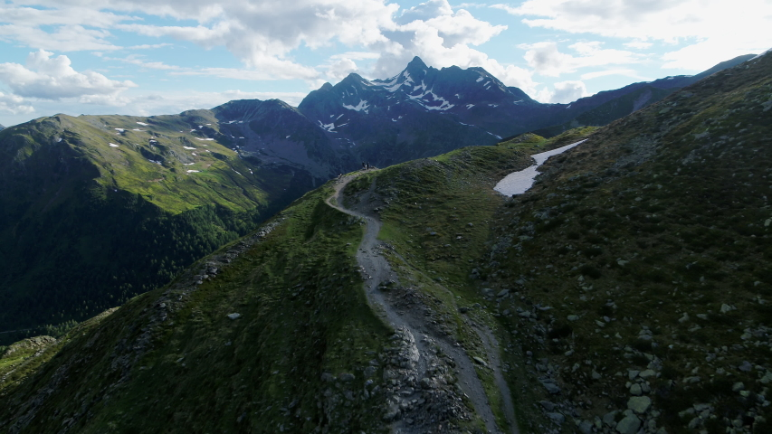 Aerial of mountain Landscape in the italian Alps in South Tyrol. Summer view   Shutterstock HD Video #1055651837