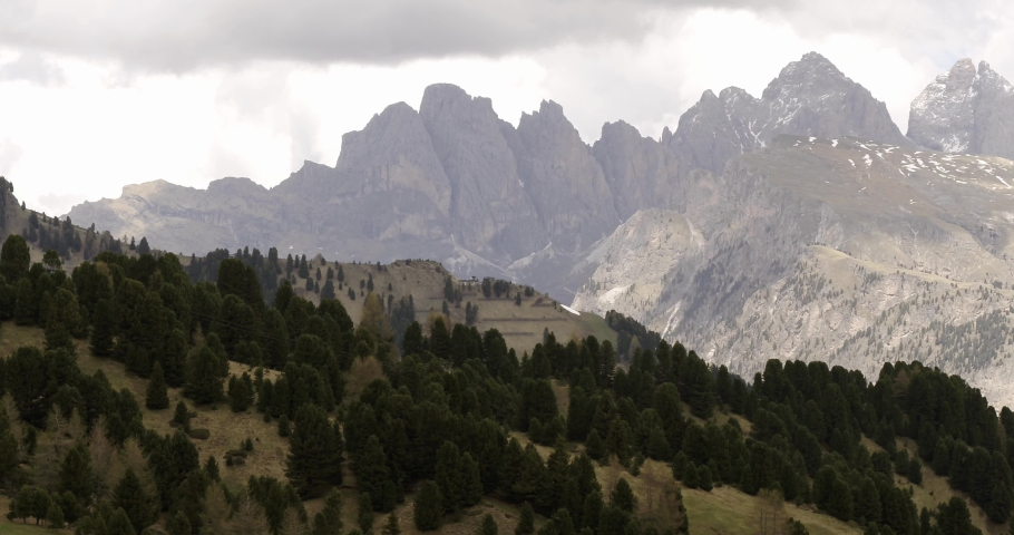 Beautiful Fermeda and Seceda in South Tyrol. Aerial of Dolomites in the Alps   Shutterstock HD Video #1055651939