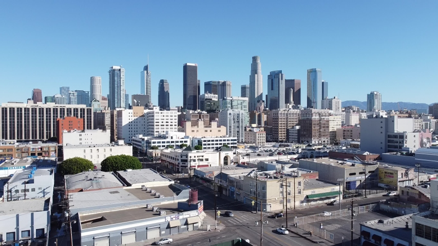 Aerial Drone DTLA Skyline Buildings Traffic AM Morning Downtown Los Angeles California USA | Shutterstock HD Video #1055654705