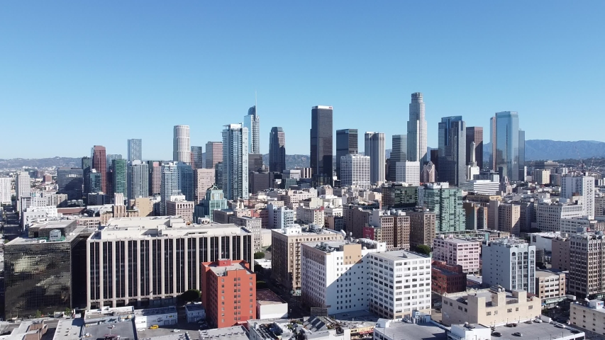 Aerial Drone DTLA Skyline Buildings Traffic AM Morning Downtown Los Angeles California USA | Shutterstock HD Video #1055654723