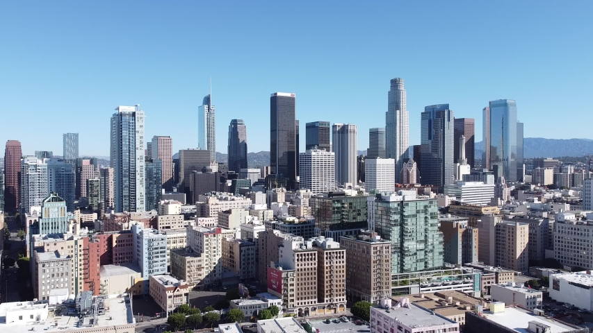 Aerial Drone DTLA Skyline Buildings Traffic AM Morning Downtown Los Angeles California USA | Shutterstock HD Video #1055654726
