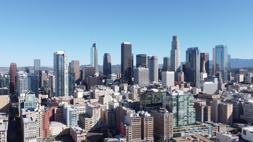 Aerial Drone DTLA Skyline Buildings Traffic AM Morning Downtown Los Angeles California USA | Shutterstock HD Video #1055654729