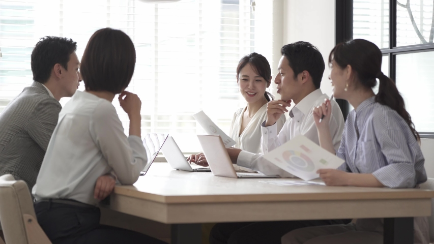 Asian businesspeople meeting at office | Shutterstock HD Video #1055655485