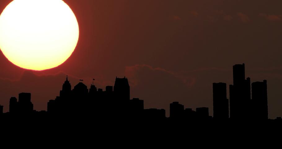 Detroit, United States Skyline Silhouette Sunset Timelapse