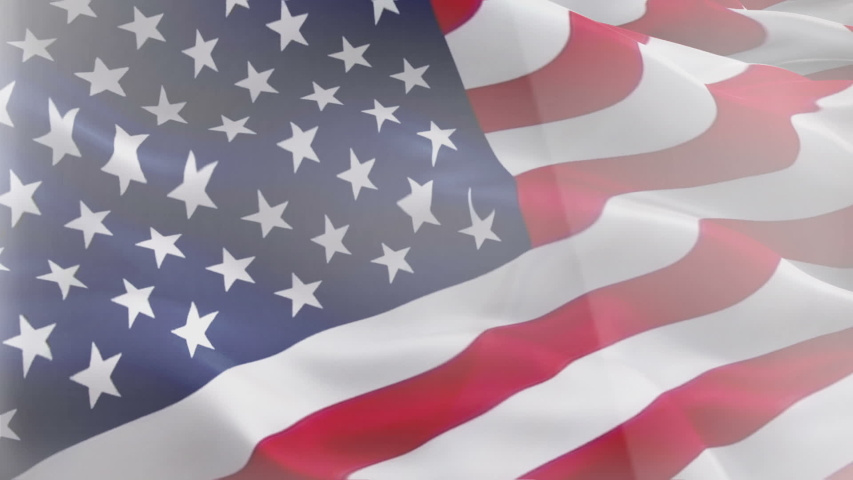Waving Flag United States Of America. United States of America waving flag video gradient background. Waving Flags United States Of America. USA flag for Independence Day, 4th of july US American Flag | Shutterstock HD Video #1055666237