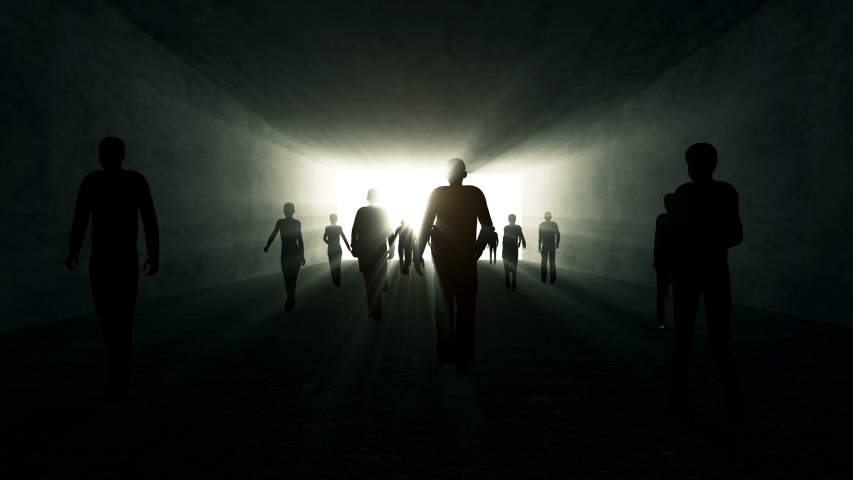 4K Animation of Silouette of Crowd of People go in a dark tunnel to the light | Shutterstock HD Video #1055674439