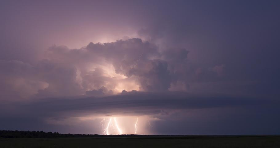 Lightning storm clouds timelapse thunderstorm at night sky