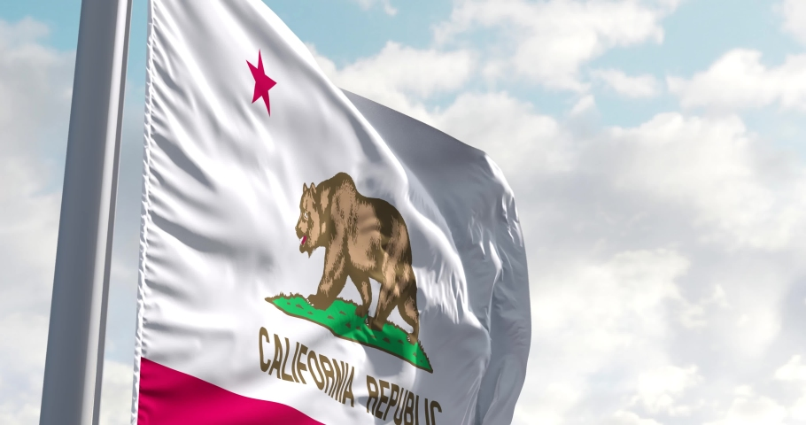 California flag on a flagpole on USA flag background waving in the wind in the sky. Wonderful intro for yor projects. State of California in The United States of America. | Shutterstock HD Video #1055689109