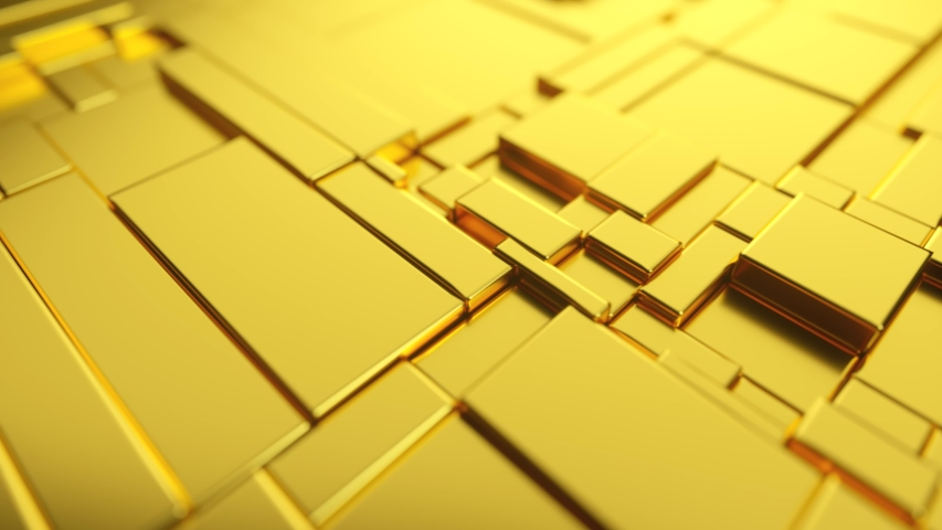 Abstract moving surface made of gold. Seamless loop 3d render | Shutterstock HD Video #1055700662