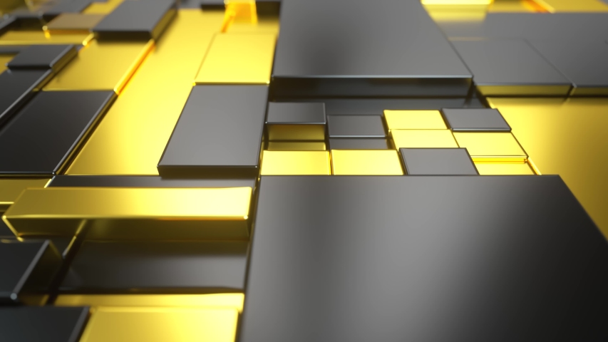 Abstract moving surface made of gold and plastic. Seamless loop 3d render | Shutterstock HD Video #1055700677