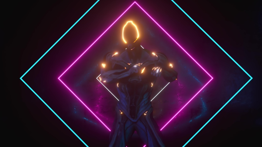 Dancing alien robot on a metal background with bright neon lights. The concept of joy and victory. Seamless loop 3d render | Shutterstock HD Video #1055700683