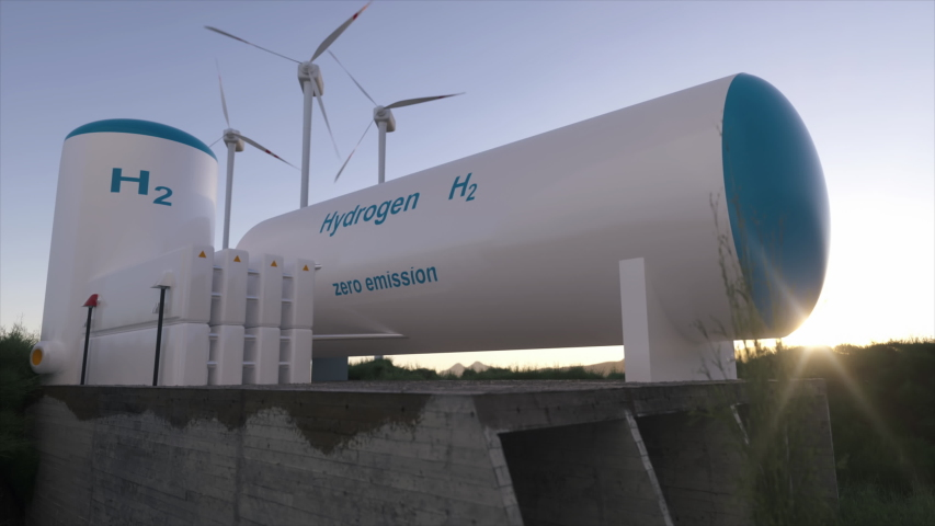 Hydrogen renewable energy production - hydrogen gas for clean electricity solar and windturbine facility. 3d rendering. Royalty-Free Stock Footage #1055700719