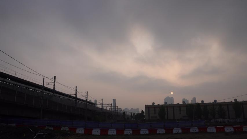 The sun setting over the Korean underground station | Shutterstock HD Video #1055707664