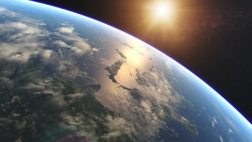 Beautiful Sunrise over Earth. Realistic earth with night lights from space. High quality 3d animation | Shutterstock HD Video #1055729732