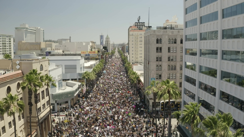 Los Angeles , California / United States - 06 14 2020: Aerial View of Thousands of People at Hollywood Boulevard in All Black Lives Matter Protest Including LGBT Community From Annual Pride Festival,