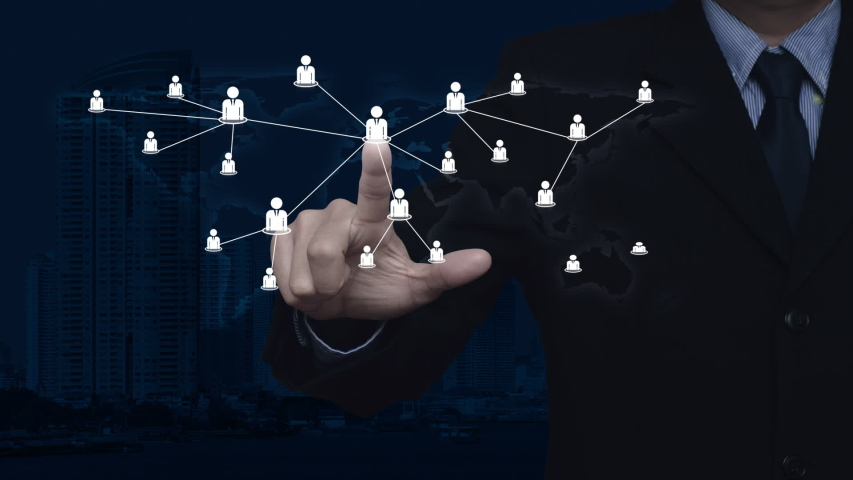 Hand click businessman flat icon with connection line over world map, modern city tower and skyscraper, Business communication concept, Elements of this image furnished by NASA #1055732396